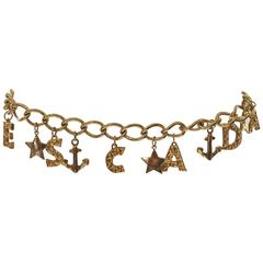 1980s Escada Nautical Logo Gold Chain Belt