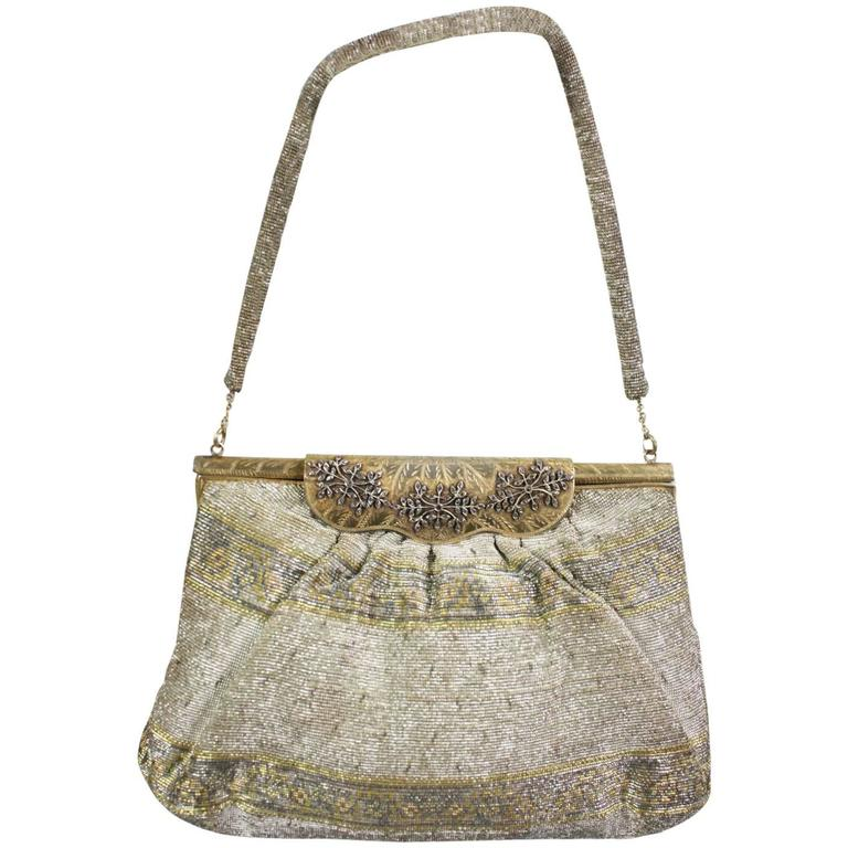 1950's Metallic Beaded Handbag Made in France 1