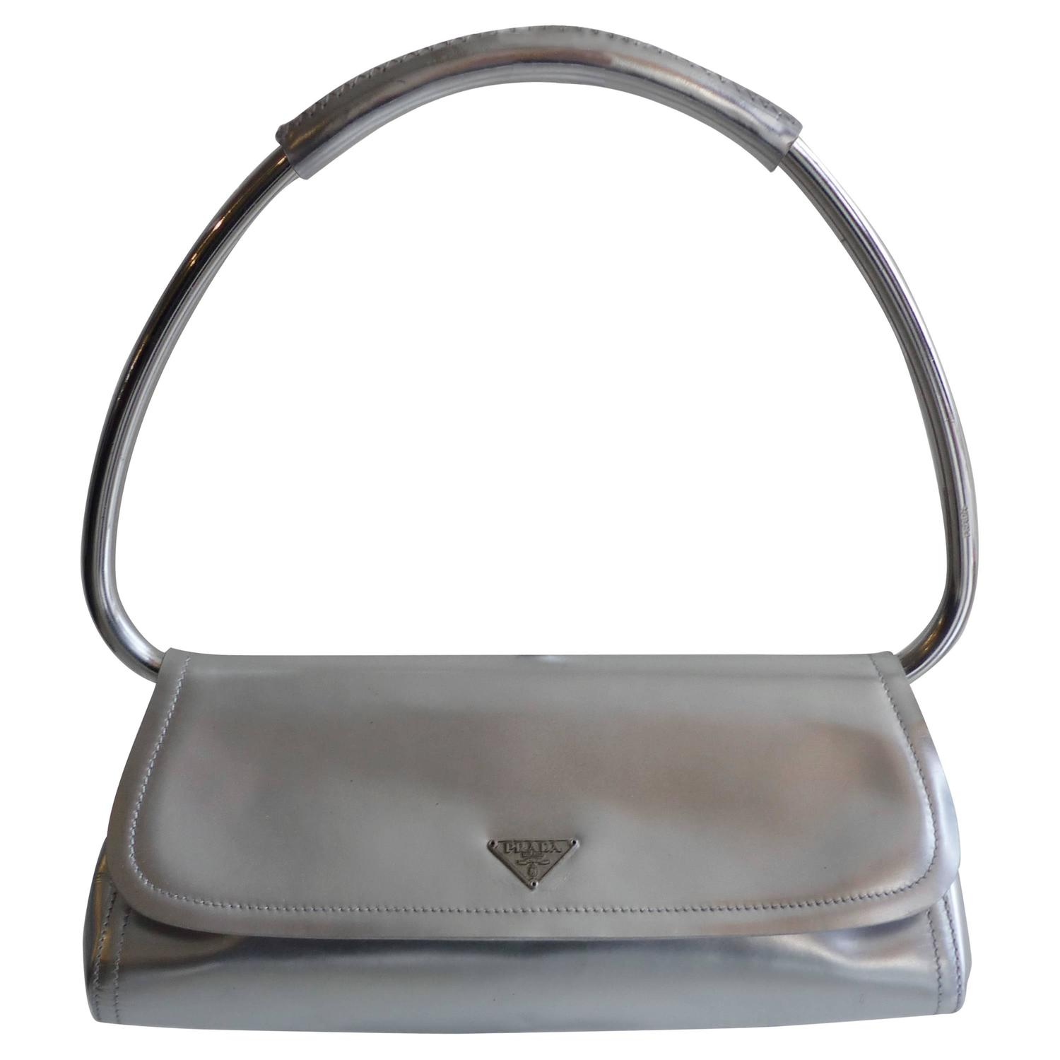 f0dee4a580 prada silver ring handle bag, prada chain bag