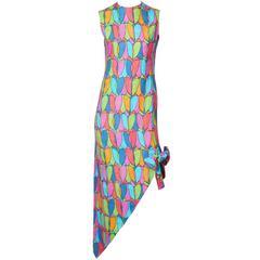 Geoffrey Beene 60's Colorful Linen Dress With Asymmetric Hem