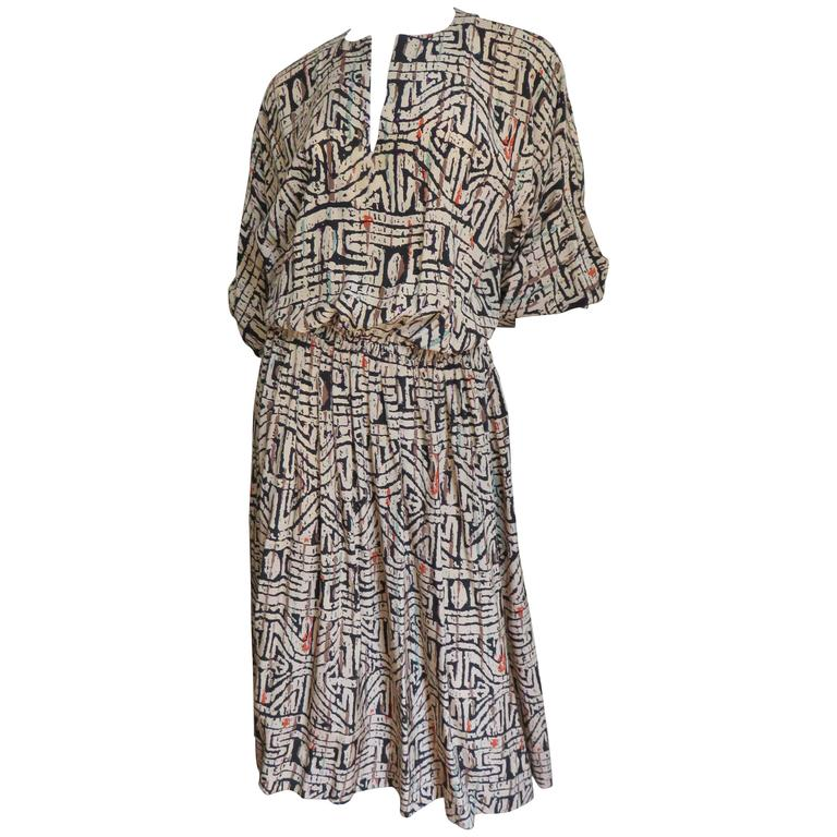 1970s Halston Tribal Print Blouson Dress