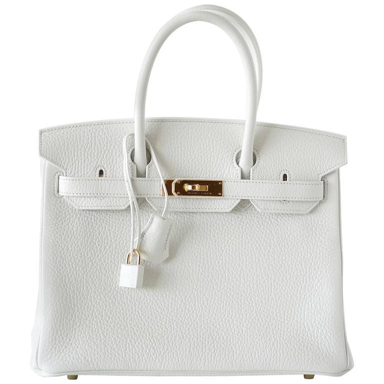 Hermes Birkin 30 Bag Rare White Coveted Beauty Clemence Gold Hardware Rare
