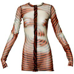 Iconic Jean Paul Gaultier Sheer Mesh 3-D Optical Illusion Face Cardigan Top