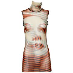 Iconic Jean Paul Gaultier Sheer Mesh 3-D Optical Illusion Face Turtle Neck Top