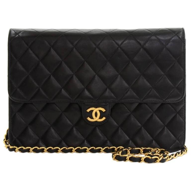 """Chanel 10"""" Classic Black Quilted Leather Shoulder Flap Bag Ex For Sale"""