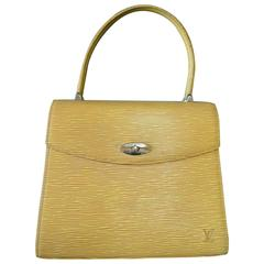 Vintage Louis Vuitton yellow epi Malesherbes handbag. Classic purse for Spring