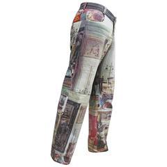 Vivienne Westwood mens Renaissance print jeans, c. 1990s