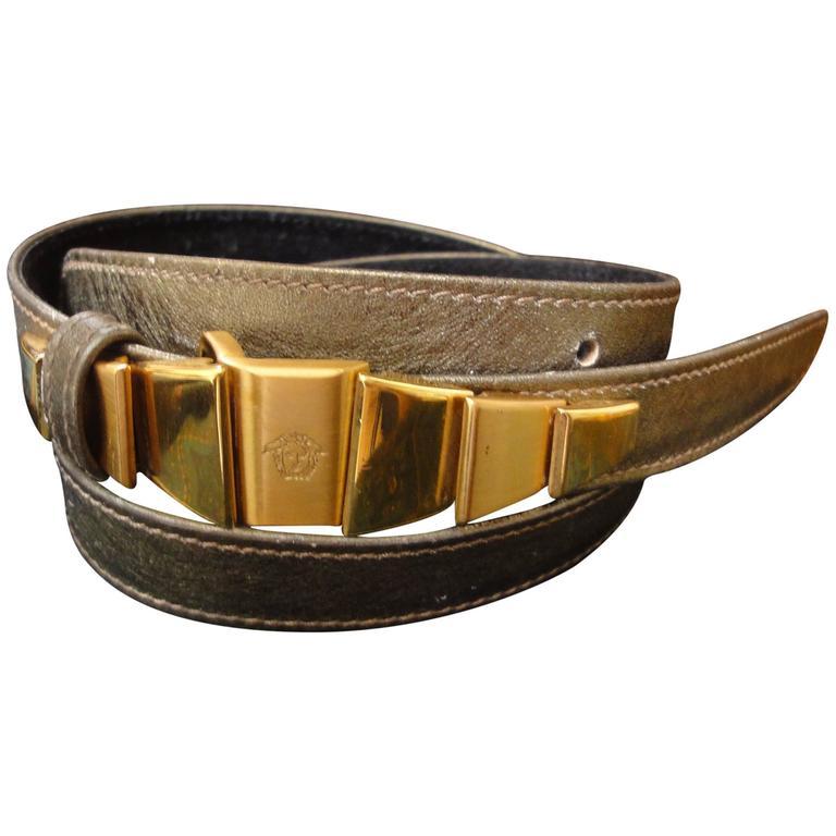 Vintage Gianni Versace skinny gold bronze leather belt with golden hardware