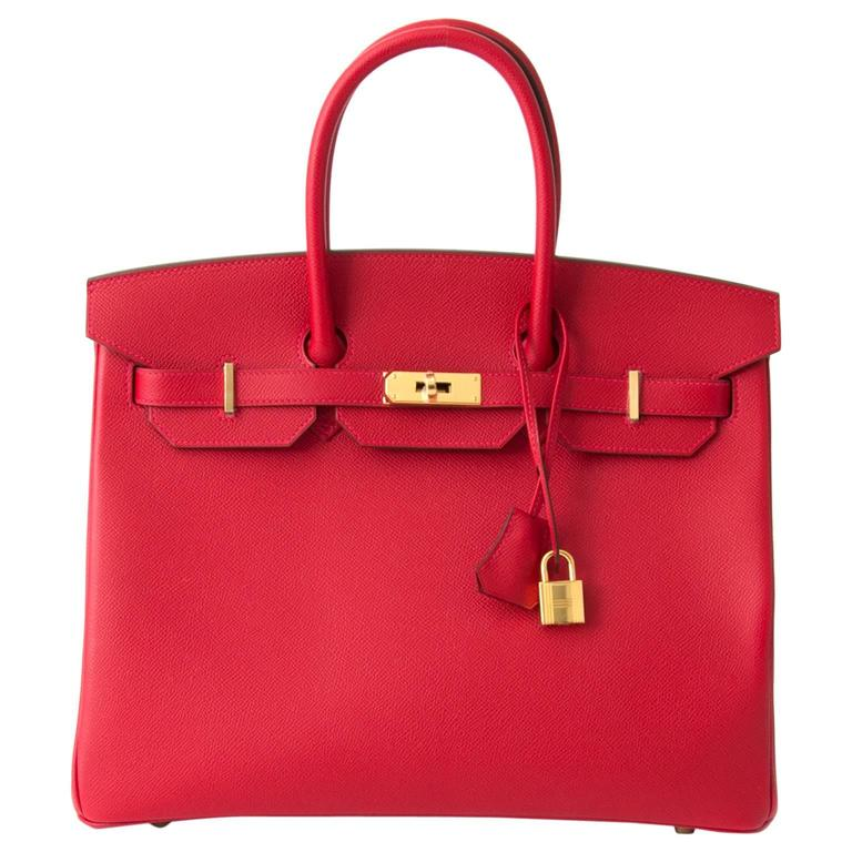 Brand New Hermès Birkin Rouge Casaque Epsom 35 GHW For Sale