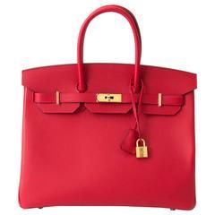 Brand New Hermès Birkin Rouge Casaque Epsom 35 GHW