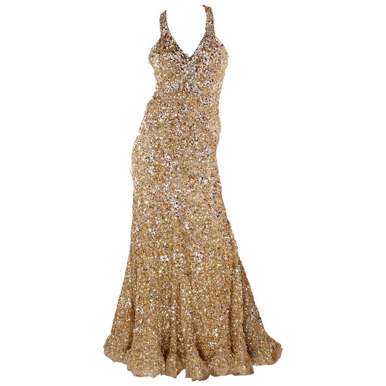 Elie Saab Haute Couture Evening Gown - golden beads and sequins For ...