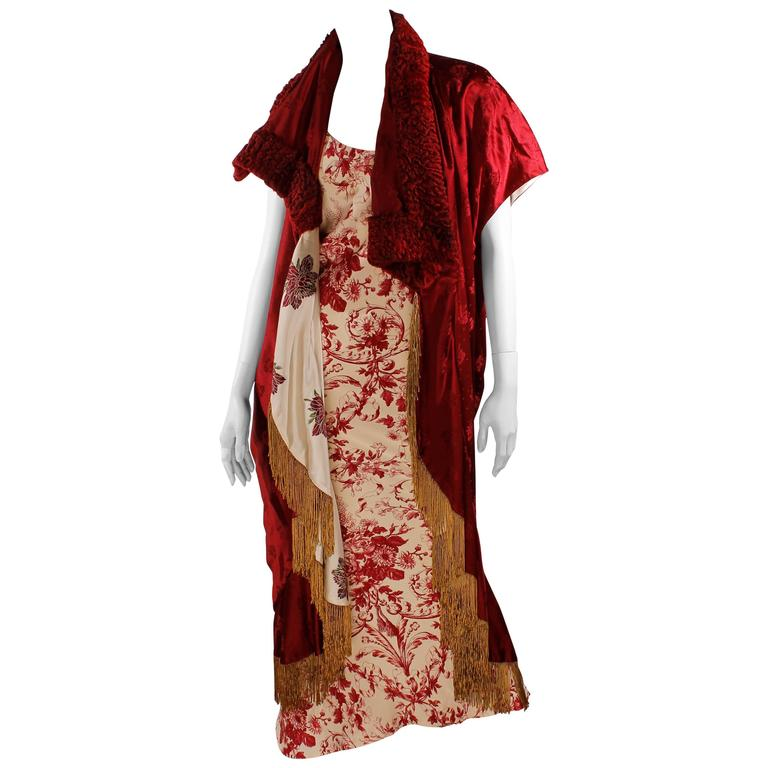 Christian Dior Evening Dress and Cape - red/ivory flowerpattern