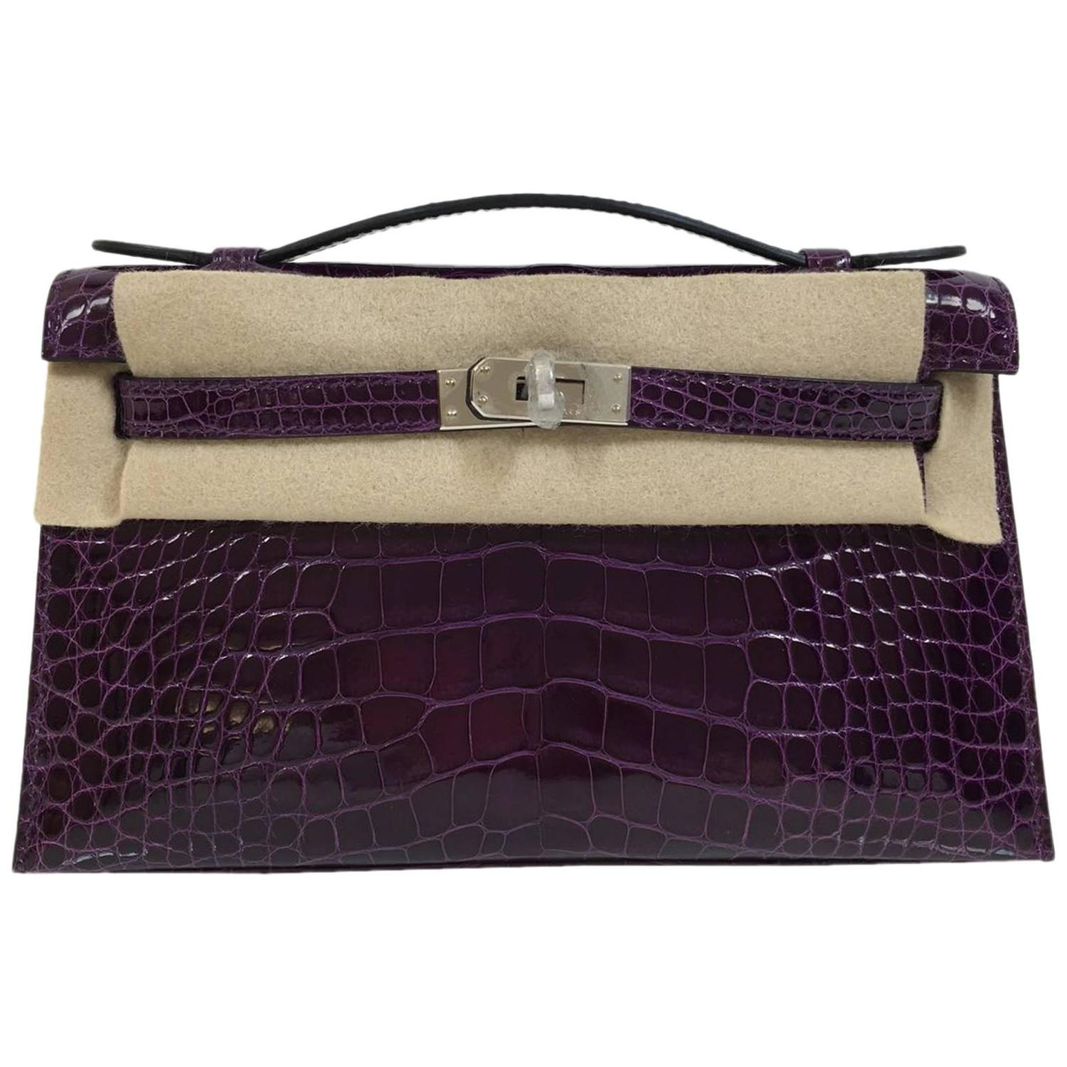 silver plum handbags - Rare Hermes Kelly Pochette crocodile shiny cassis phw For Sale at ...
