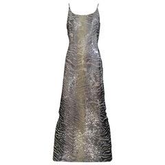 1990s Giorgio Armani  Sequin Metallic Grey and Silver Cocktail Dress