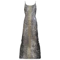 1990s Giorgio Armani silver and gray sequin cocktail dress