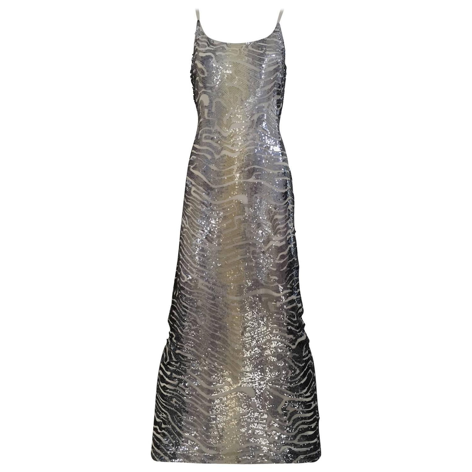 Giorgio Armani Black Label Vintage Beaded Gown New 40 / 6 For Sale ...