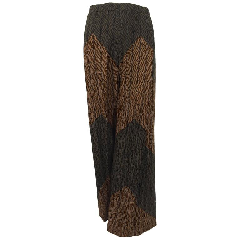 Carolina Herrera cocoa/chocolate geometric print wide leg trouser 1