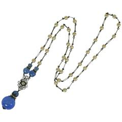 Louis Rousselet Opaline Blue Sautoir Necklace