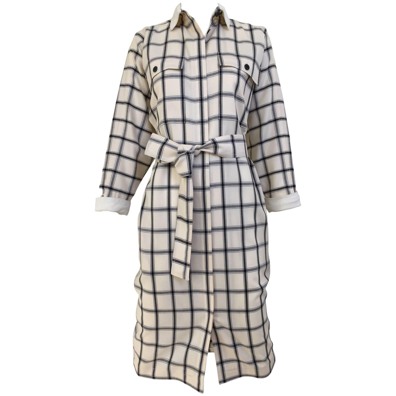 Vintage 1970s GUCCI Creme and Blue Plaid Linen 70s Day Dress