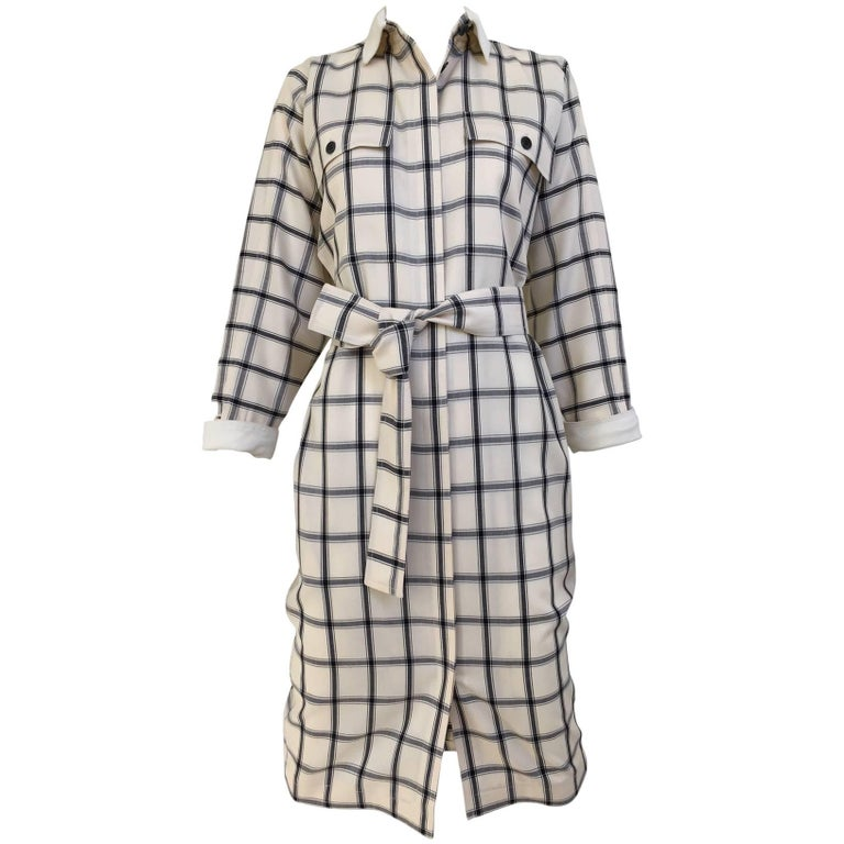 Vintage 1970s GUCCI Creme and Blue Plaid Linen 70s Day Dress For Sale