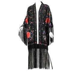 Fringed Kimono made from an Antique Shawl