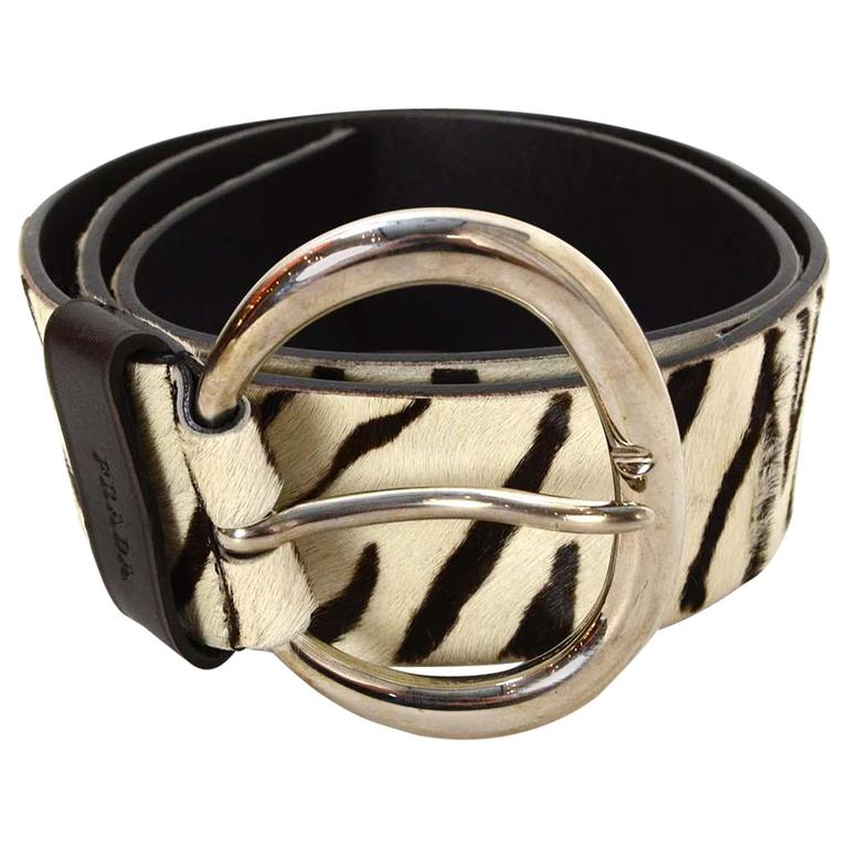 Prada Zebra Print Pony Hair Belt Sz 80 For Sale At 1stdibs