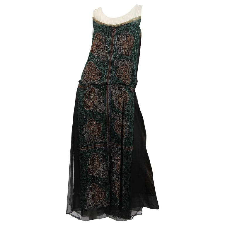 1920s ArtDeco Beaded Dress For Sale