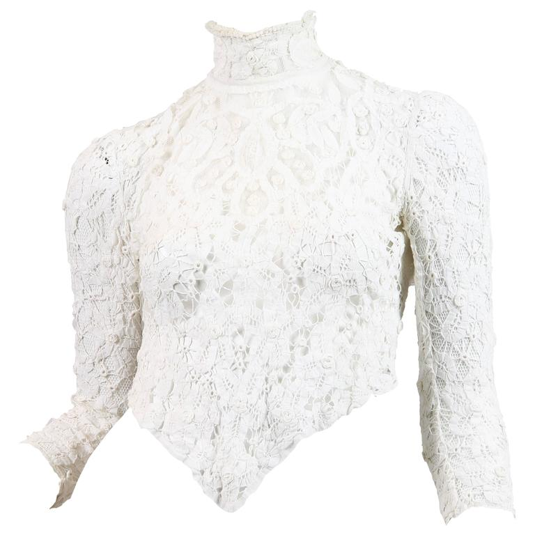 1890s Victorian Handmade Lace Blouse 1