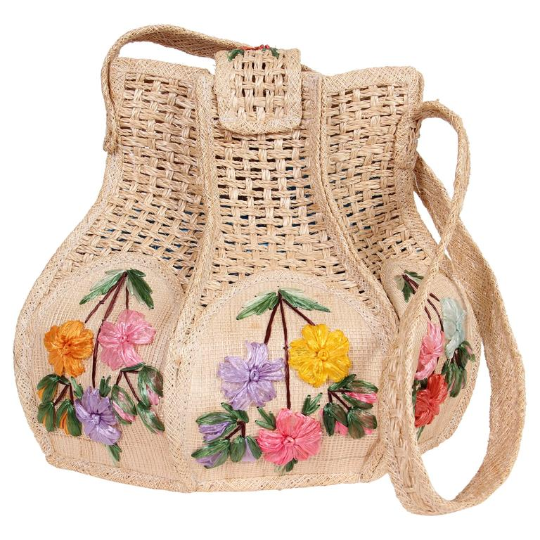Uniquely Shaped Raffia Embroidered Bag For Sale