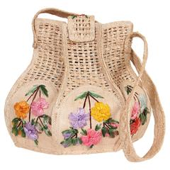 Uniquely Shaped Raffia Embroidered Bag