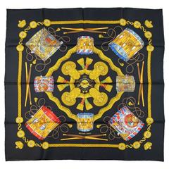 HERMES Black Silk Les Tambours Silkl Scarf
