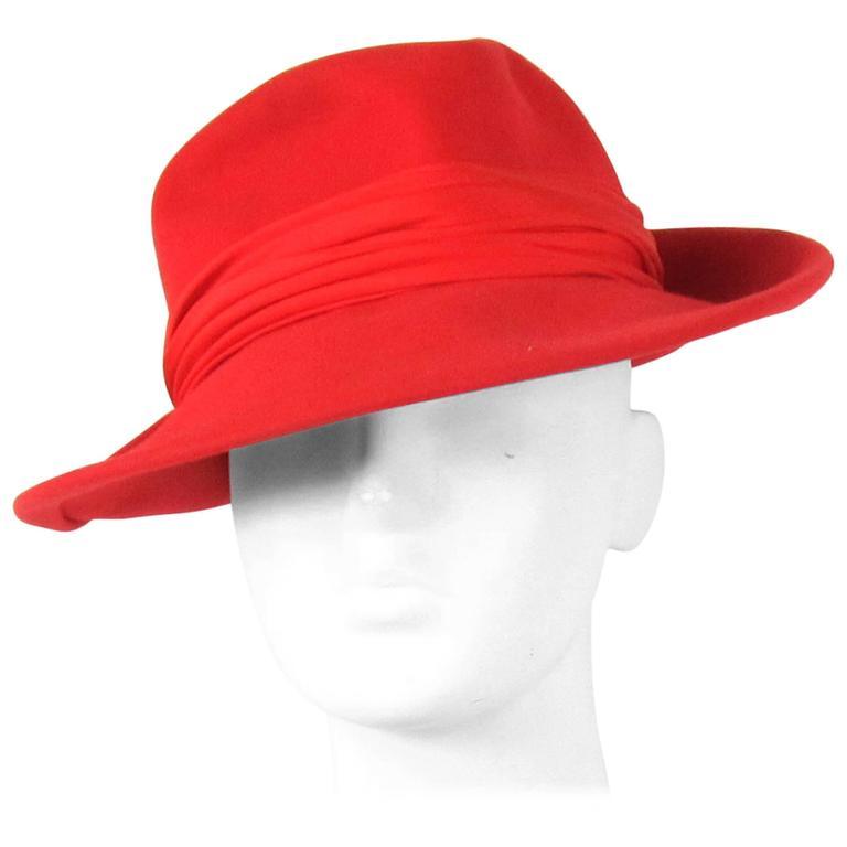 Vintage 1960s Red Wool Fedora Hat  1