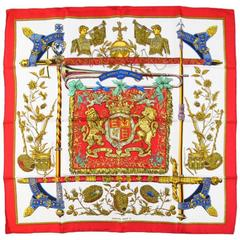 HERMES Red Silk The Queen's Silver Jubilee 1977 Silk Scarf