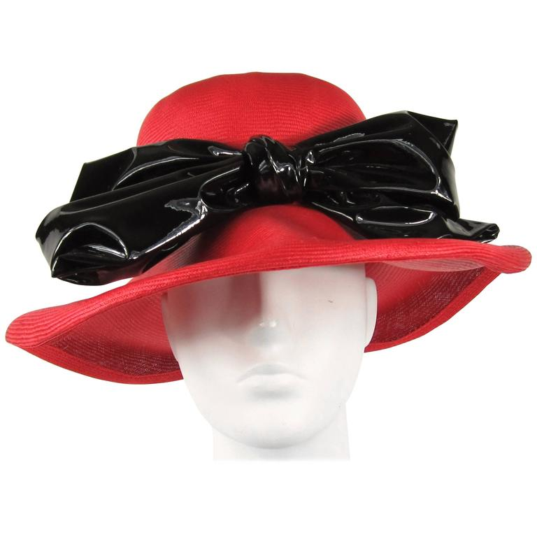Vintage 1960s Red Mod Straw Black Bow Derby Hat  1