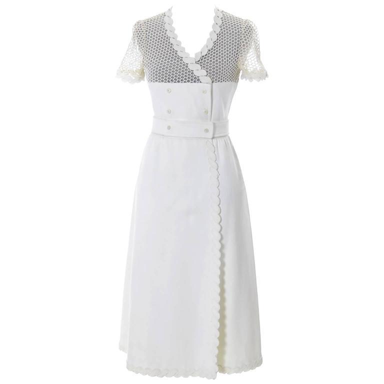Rare Andre Courreges Paris Space Age Vintage Dress Mesh 1960s Mod