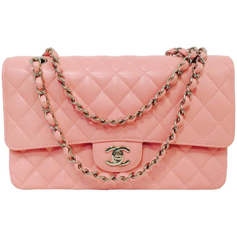 913525af5e4 New Chanel Pink Diamond Quilted Caviar 2.55 Medium Serial 8924622 For Sale