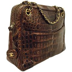 Vintage 1980s New Chanel Brown Crocodile Camera Bag Serial Number 0430072