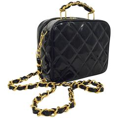 1990s Chanel Black Patent Leather Camera Bag W Chain Handle/Strap 3296902
