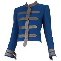 Vintage Loulou De La Falaise Blue Wool Cropped Military Jacket w/Leather Trim