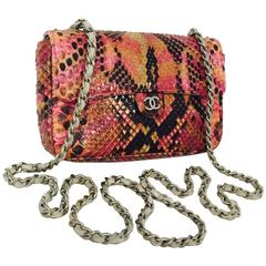 504706f8a65c Chanel Exotic Python Flap Bag W Dove Leather Woven Chain 6112102