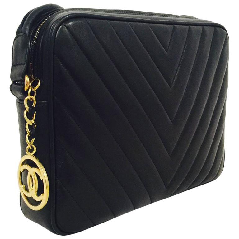 1e586d241cd1 New Vintage Chanel Black Chevron Quilt Lambskin Camera Bag Leather Straps  at 1stdibs