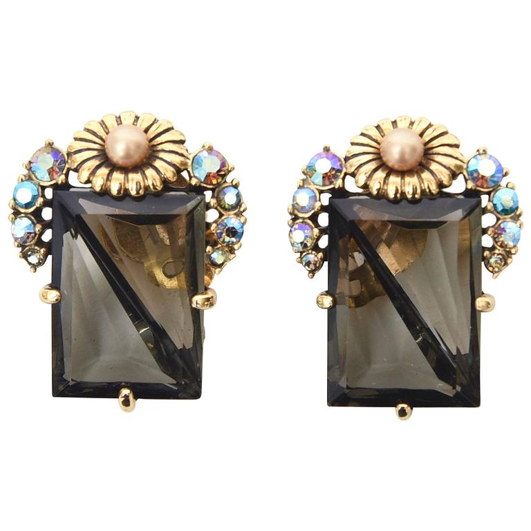 Stunning Pair of Signed Schaparelli Clip on Earrings  For Sale