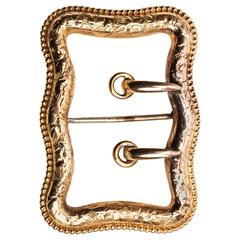 Victorian Etched Gold Buckle Brooch