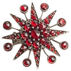 Victorian Garnet Starburst Brooch