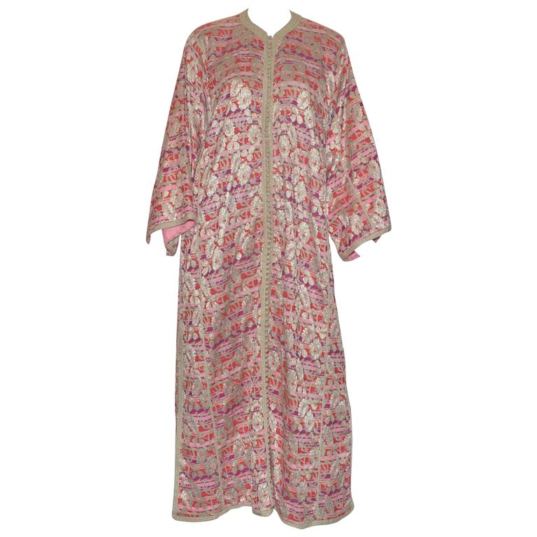 Vintage Moroccan 1960's Lame Floral Embroidered Caftan Dress 1