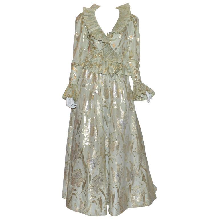Oscar De La Renta Woman Silk-blend Lamé Blouse Gold Size 10 Oscar De La Renta Amazing Price Cheap Price Free Shipping Purchase h7H9eSGtVI