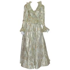 Oscar de la Renta Lame Vintage Taffeta Skirt Suit Ensemble