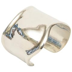 Hallmarked Los Ballesteros Sterling Silver Sensual Sculptural Bone Cuff Bracelet