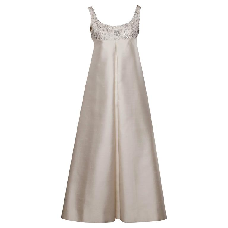 Silk Shantung White Beaded Sequin and Rhinestone Vintage Formal Gown ...