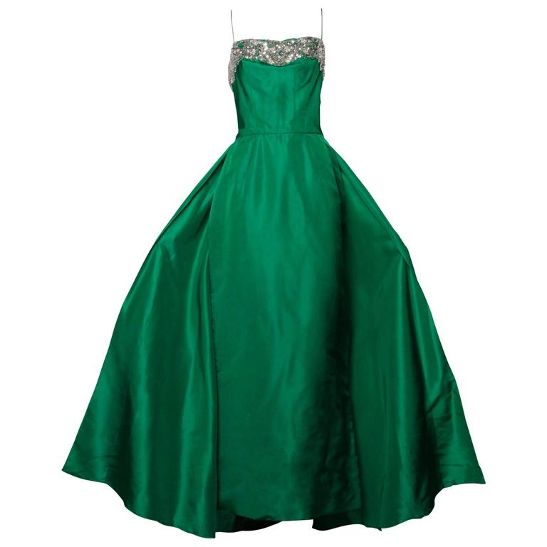 Stunning 1950s Vintage Beaded Sequin Green Silk Gown with Huge Train 2